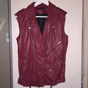 BLK DNM red leather vest